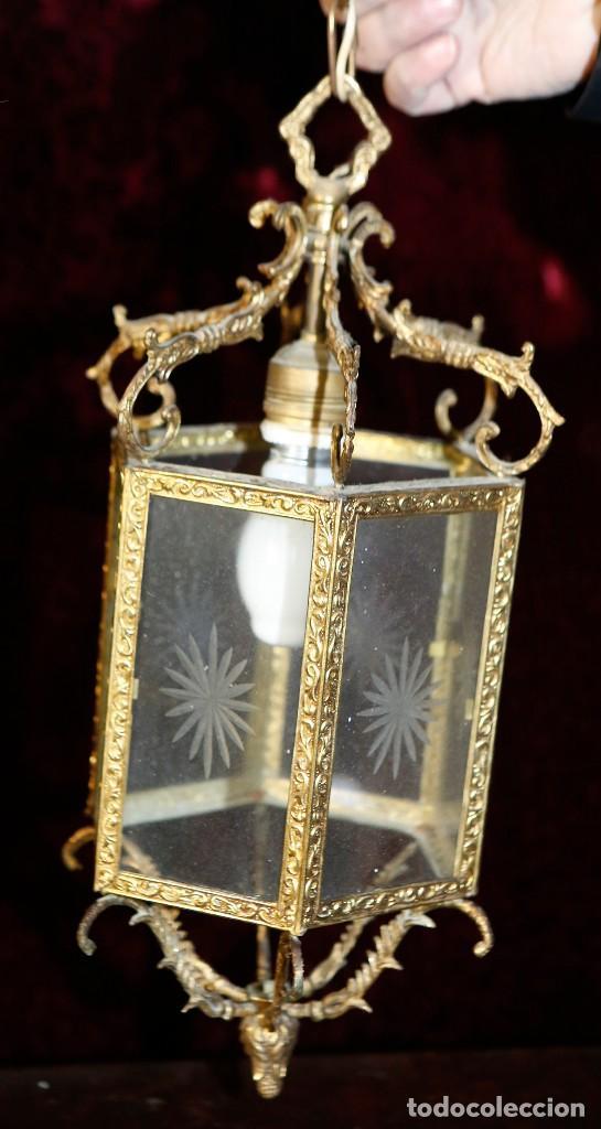 Antigüedades: Lámpara de techo de bronce. - Foto 2 - 122081095