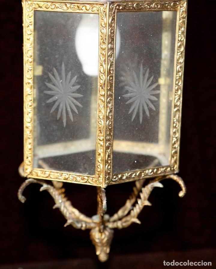 Antigüedades: Lámpara de techo de bronce. - Foto 3 - 122081095