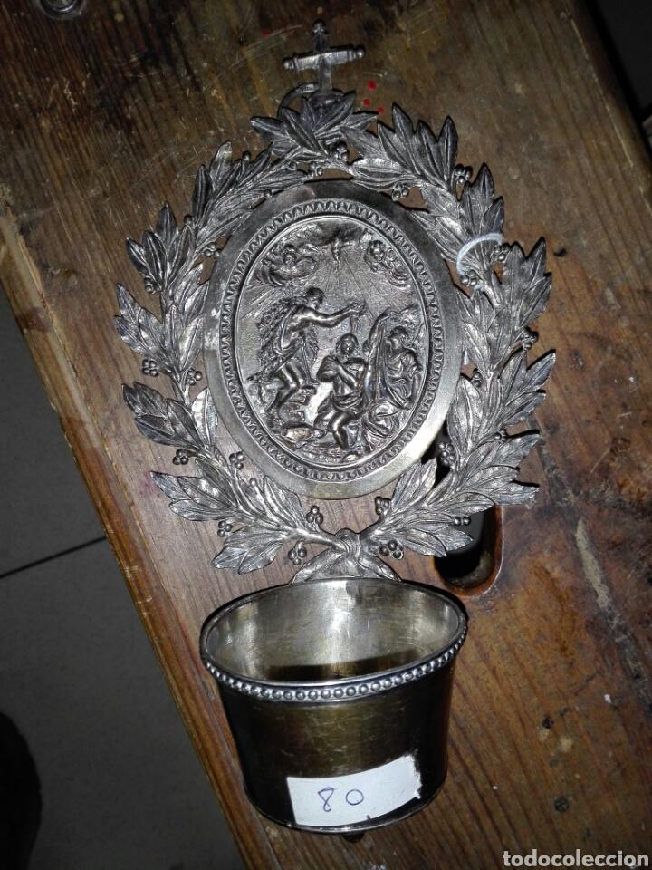 PILA BENDITERA EN PLATAPRINCIPIOS DEL SIGLO 19 -CA1 (Antigüedades - Religiosas - Benditeras)