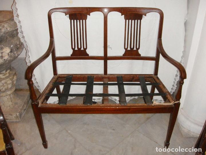 Antigüedades: Magnifico Estrado de 2 plazas con sillones a juego. S.XIX. Caoba con marquetería. - Foto 2 - 122087163