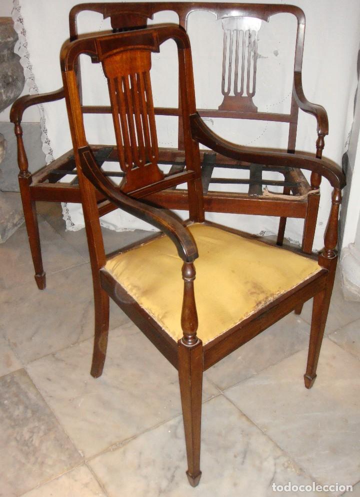 Antigüedades: Magnifico Estrado de 2 plazas con sillones a juego. S.XIX. Caoba con marquetería. - Foto 3 - 122087163