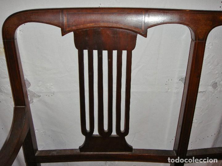 Antigüedades: Magnifico Estrado de 2 plazas con sillones a juego. S.XIX. Caoba con marquetería. - Foto 5 - 122087163