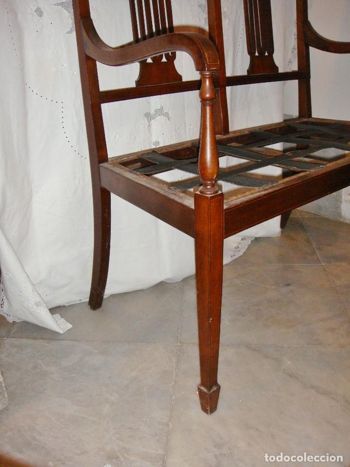 Antigüedades: Magnifico Estrado de 2 plazas con sillones a juego. S.XIX. Caoba con marquetería. - Foto 6 - 122087163