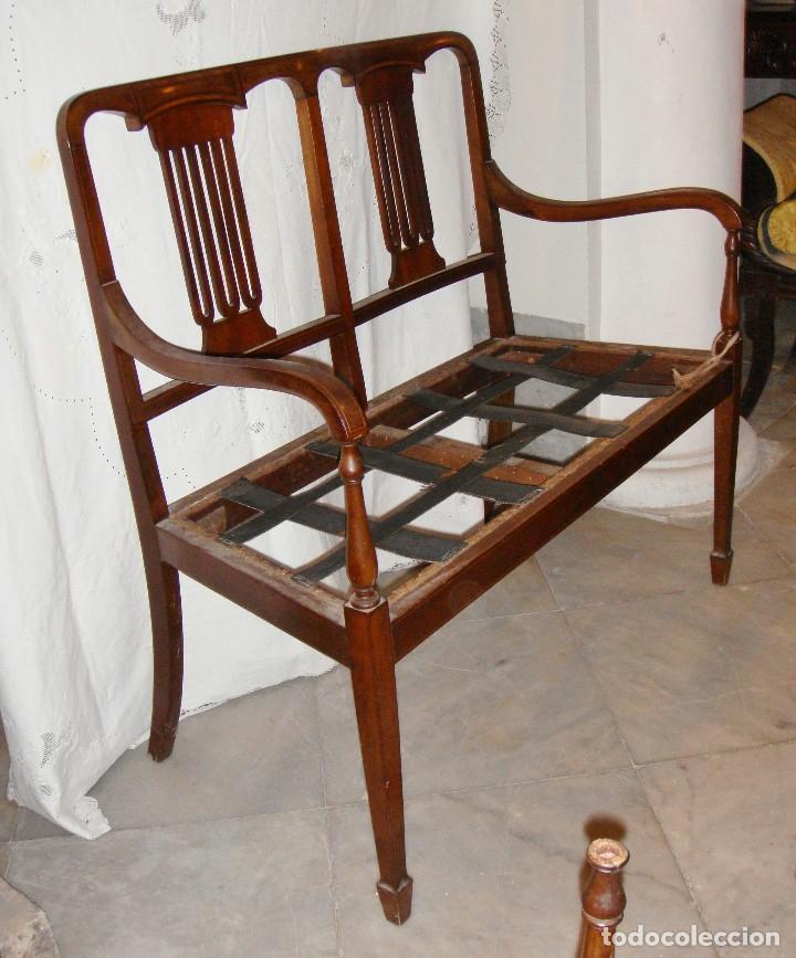 Antigüedades: Magnifico Estrado de 2 plazas con sillones a juego. S.XIX. Caoba con marquetería. - Foto 7 - 122087163