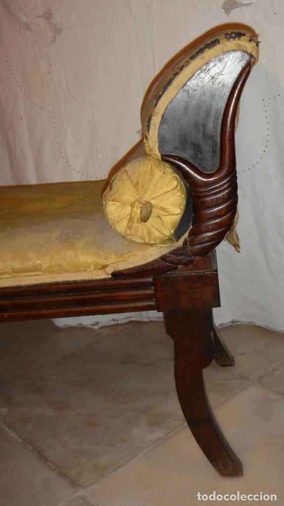 Antigüedades: Precioso Diván de Caoba. Estilo Imperio Fernandino Gaditano. Primer tercio S.XIX. Tapicería original - Foto 3 - 122088035