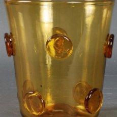 Antigüedades: JARRÓN VIDRIO DE COLOR AMBAR MALLOQUÍN GORDIOLA AÑOS 60. Lote 122105803