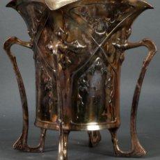 Antigüedades: JARRÓN REFRESCADOR ART NOUVEAU EN METAL PLATEADO PRINCIPIOS DEL SIGLO XX. Lote 122107779