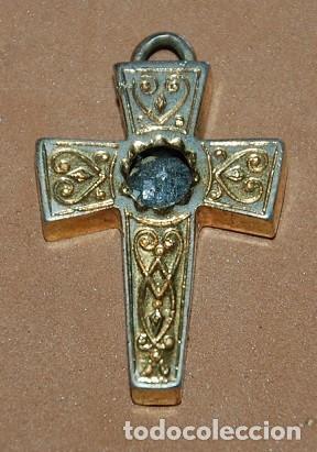 CRUZ PECTORAL RELICARIO-010 (Antigüedades - Religiosas - Cruces Antiguas)
