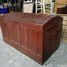 Antigüedades: ANTIGUO BAUL, ARCA DE VIAJE, S.XIX, GRANDE 103X53X60CM EN MADERA Y METAL REPUJADO. Lote 122120500