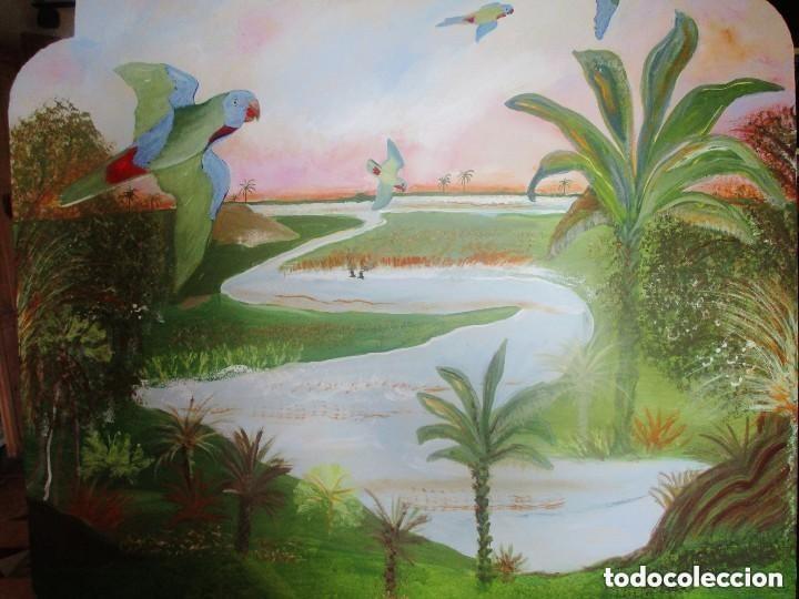 Antigüedades: Cabecero. antiguo. madera marina pintada oleo.Lleno encanto.medidas: 1,19 cm x 100 cm - Foto 3 - 122126367