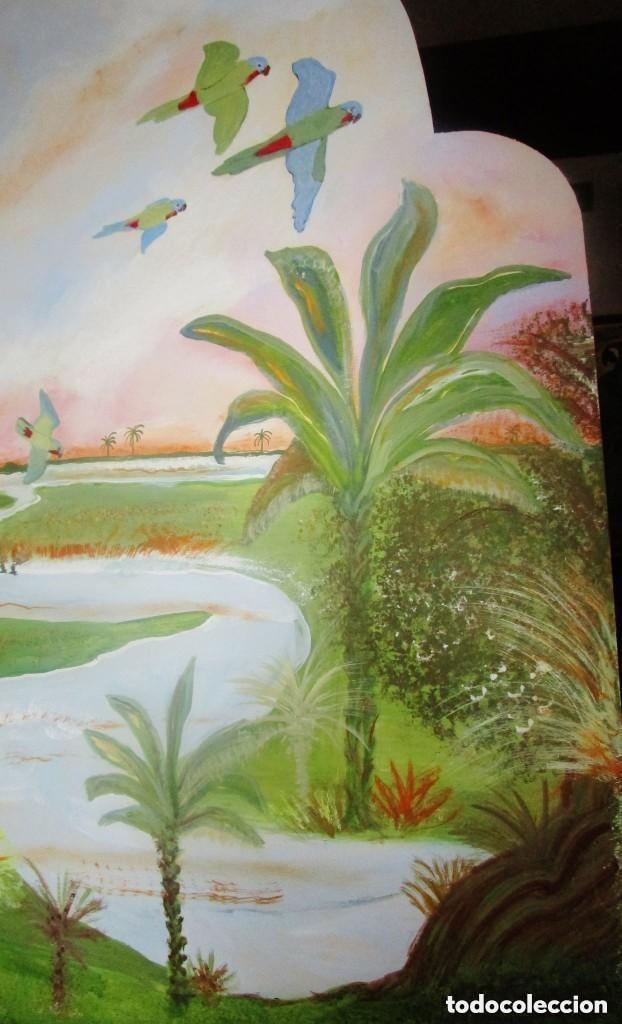 Antigüedades: Cabecero. antiguo. madera marina pintada oleo.Lleno encanto.medidas: 1,19 cm x 100 cm - Foto 4 - 122126367