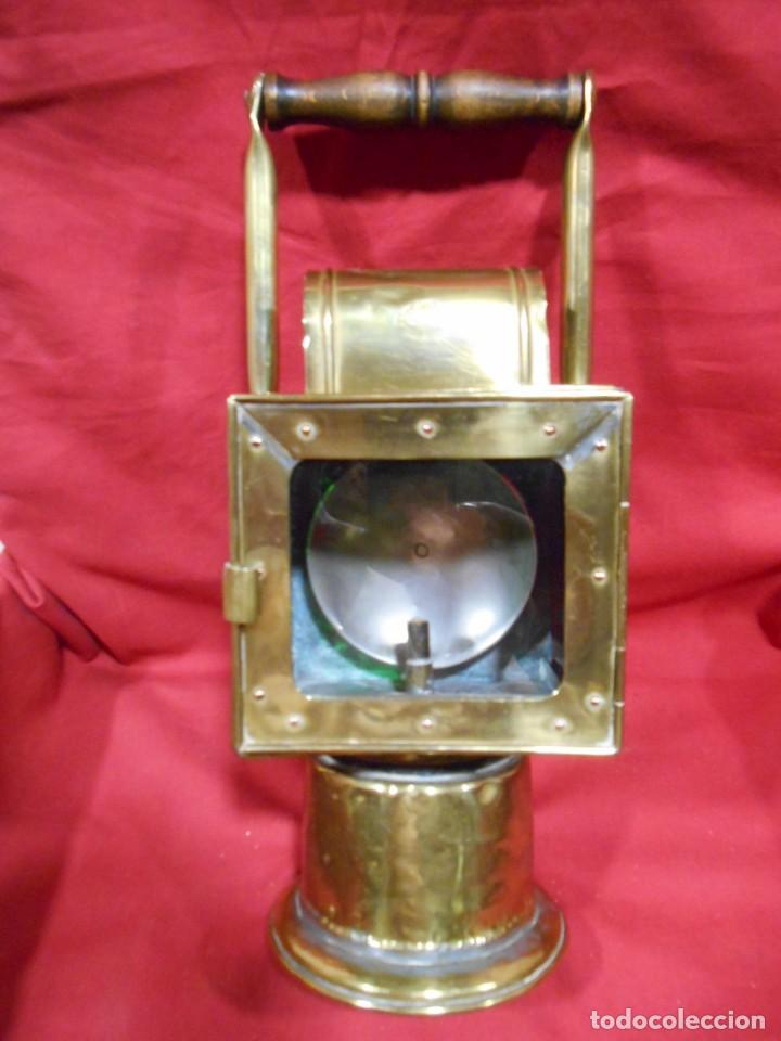 Antigüedades: ANTIGUO FAROL FERROVIARIO DE SEÑALES DE LATON UTILIZADO POR AGENTE FERROVIARIO EN ESTACION - Foto 8 - 122128243