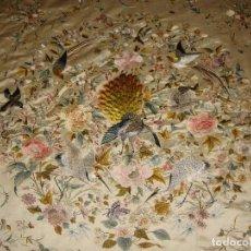Antigüedades: COLCHA DE SEDA CHINA. S.XIX. SEDA. BORDADA A MANO. EXTRAORDINARIA CONSERVACIÓN. FECHADA 1893. Lote 172889820