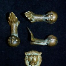 Antigüedades: LOTE DE 3 GARRAS Y MASCARÓN DE LEÓN. BRONCE MACIZO. AÑOS 60. Lote 122145175