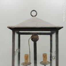 Antigüedades: ANTIGUA LAMPARA DE PARED HIERRO FORJADO EXCELENTE OBJETO DE DECORACIÓN. Lote 126137647