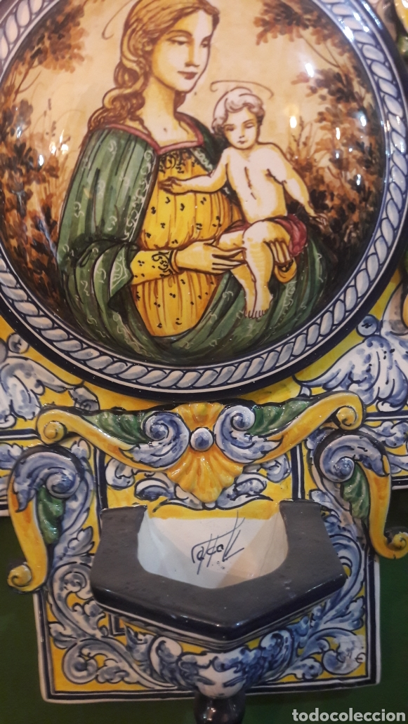 Antigüedades: Gran benditera Española 60 alto X 40 ancho MAESTRO ROBLES FIRMADA ESPAÑA - Foto 2 - 122170779