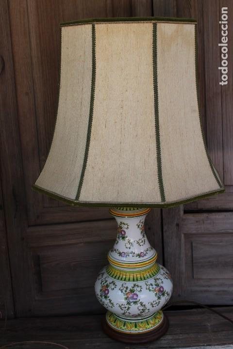 Antigüedades: MAGNIFICA LAMPARA DE SOBREMESA DE CERAMICA PINTADA A MANO IDEAL DECORACION sHABBY CHIC ITALIANA ? - Foto 3 - 122177019