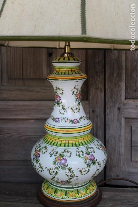 Antigüedades: MAGNIFICA LAMPARA DE SOBREMESA DE CERAMICA PINTADA A MANO IDEAL DECORACION sHABBY CHIC ITALIANA ? - Foto 4 - 122177019