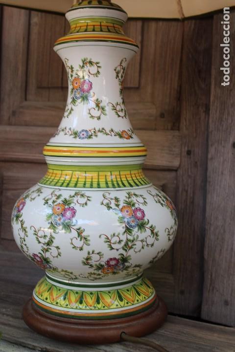 MAGNIFICA LAMPARA DE SOBREMESA DE CERAMICA PINTADA A MANO IDEAL DECORACION SHABBY CHIC ITALIANA ? (Antigüedades - Porcelanas y Cerámicas - Otras)