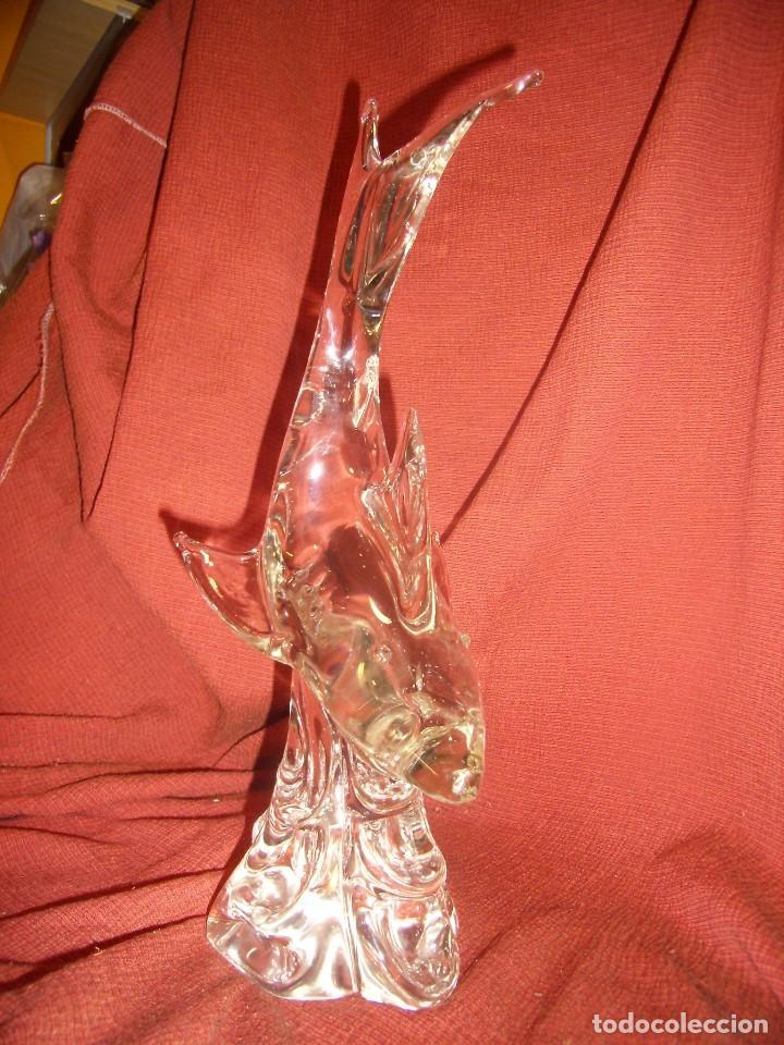 Antigüedades: Figura Tiburón cristal de Murano, años 70, altura 41 cm, Nueva sin usar. - Foto 2 - 122177907