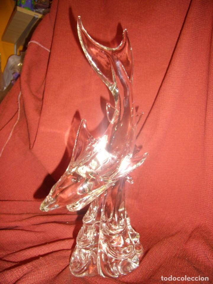 Antigüedades: Figura Tiburón cristal de Murano, años 70, altura 41 cm, Nueva sin usar. - Foto 3 - 122177907