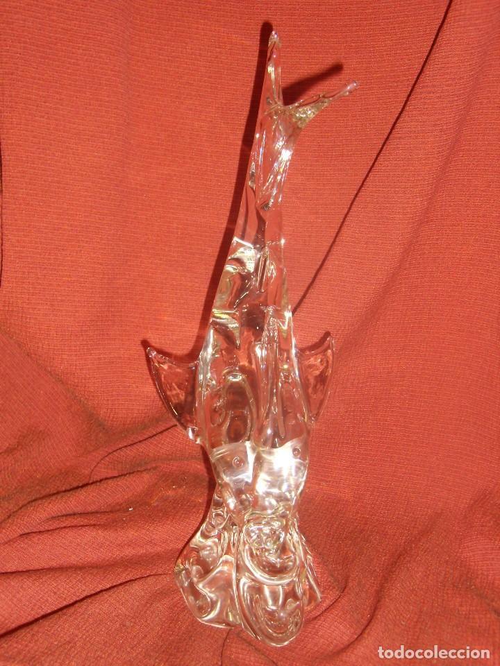 Antigüedades: Figura Tiburón cristal de Murano, años 70, altura 41 cm, Nueva sin usar. - Foto 20 - 122177907