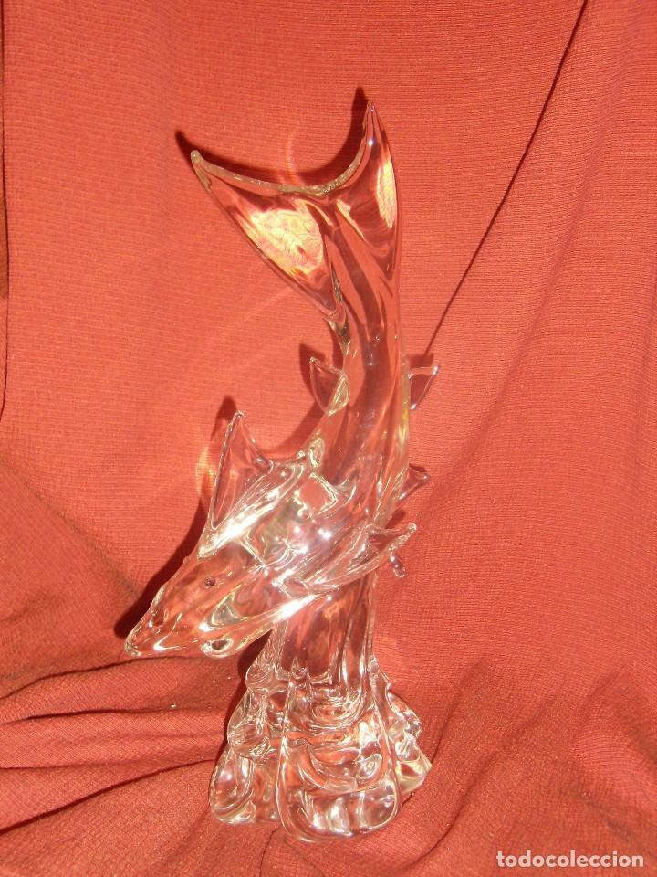 Antigüedades: Figura Tiburón cristal de Murano, años 70, altura 41 cm, Nueva sin usar. - Foto 21 - 122177907
