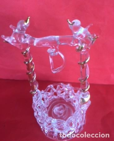 Antigüedades: Delicada figura cristal pozo, con pajaritos , cristal , oro. - Foto 3 - 122193631