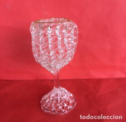 Antigüedades: Delicada figura copa cristal ribete oro - Foto 2 - 122193987