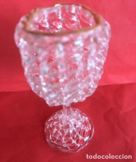 Antigüedades: Delicada figura copa cristal ribete oro - Foto 3 - 122193987