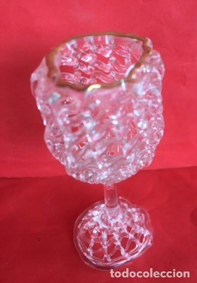 Antigüedades: Delicada figura copa cristal ribete oro - Foto 4 - 122193987
