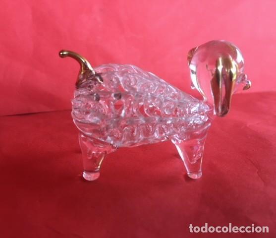 Antigüedades: Delicada figura cristal perro , acabados oro - Foto 4 - 122194811