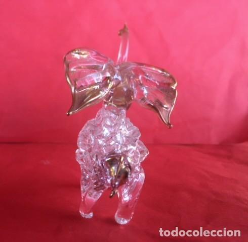 Antigüedades: Delicada figura elefante de cristal acabado oro - Foto 3 - 122196159