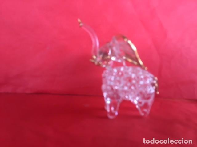 Antigüedades: Delicada figura elefante de cristal acabado oro - Foto 5 - 122196159