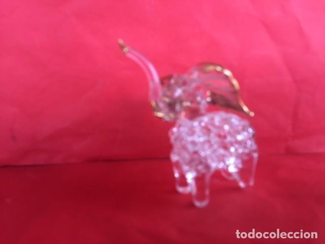 Antigüedades: Delicada figura elefante de cristal acabado oro - Foto 6 - 122196159