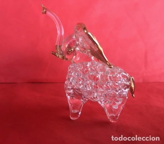 Antigüedades: Delicada figura elefante de cristal acabado oro - Foto 9 - 122196159