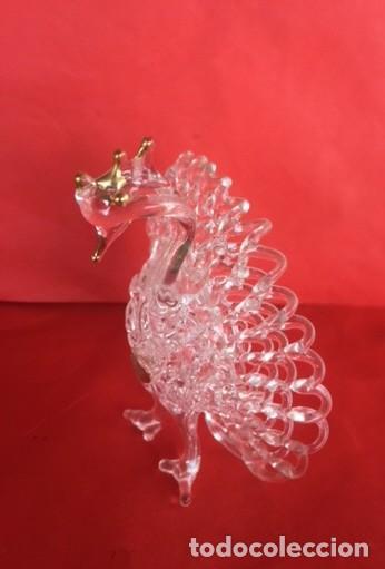 Antigüedades: Delicada antigua figura pavo real , cristal oro - Foto 2 - 122197939