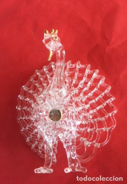 Antigüedades: Delicada antigua figura pavo real , cristal oro - Foto 4 - 122197939