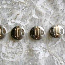 Antigüedades: 6 ANTIGUOS BOTONES DE METAL PINTADOS DE BEIS Y DORADO - INDUMENTARIA POPULAR, RESTAURACIÓN, ETC.. Lote 122200675