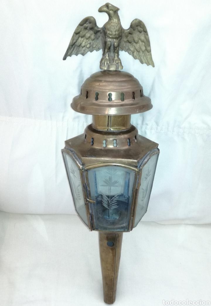 Antigüedades: Antiguo Farol con Aguila Bronce. - Foto 3 - 122212623