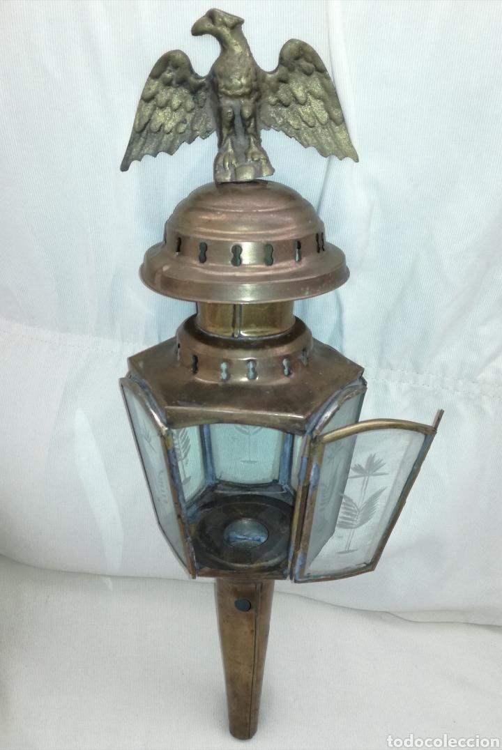 Antigüedades: Antiguo Farol con Aguila Bronce. - Foto 7 - 122212623