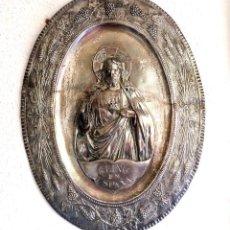 Antigüedades: CUADRO REPUJADO COBRE PLATEADO - SAGRADO CORAZON. Lote 122227027