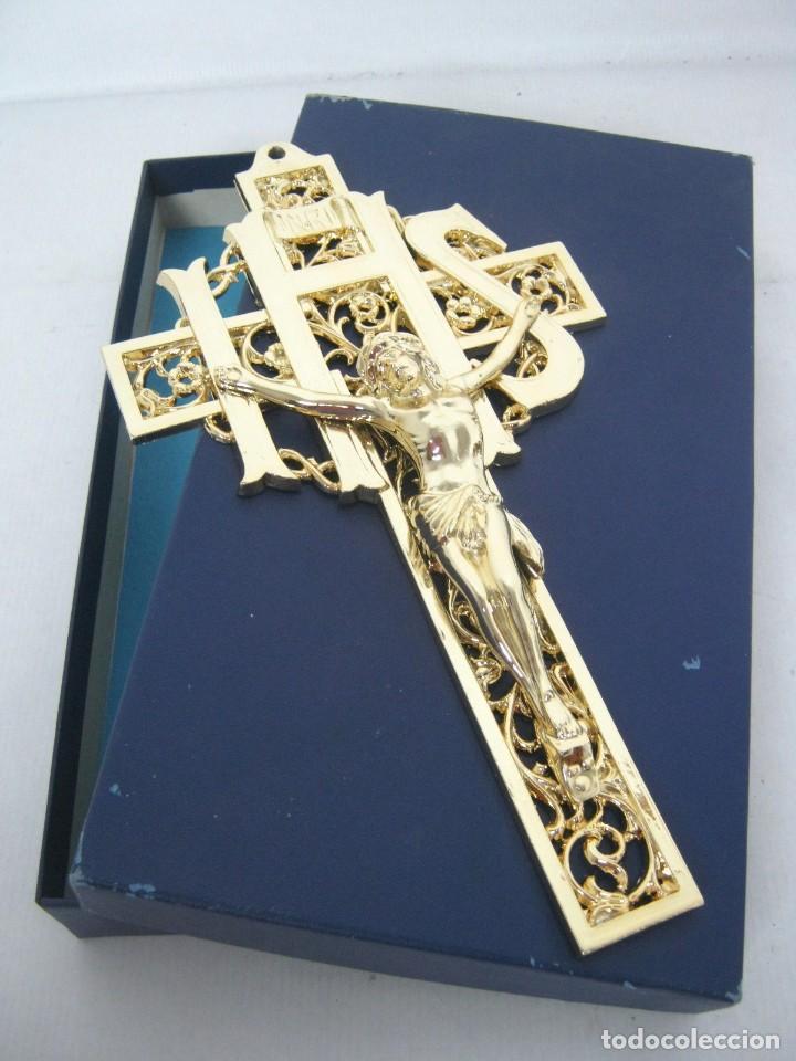650 GR. ESPECTACULAR CRUCIFIJO CRUZ - CHAPADO 24 CM PERFECTO ESTADO (Antigüedades - Religiosas - Crucifijos Antiguos)