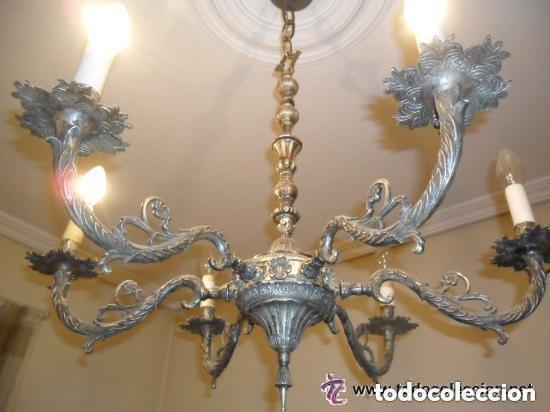 LÁMPARA DE TECHO DE 6 BRAZOS EN METAL PLATEADO ENVEJECIDO ANTIGUA (Antigüedades - Iluminación - Lámparas Antiguas)