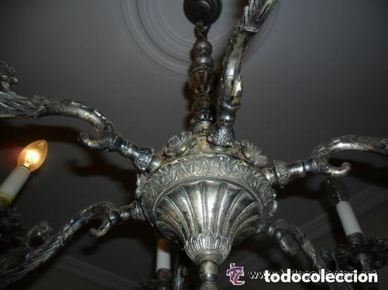 Antigüedades: LÁMPARA DE TECHO DE 6 BRAZOS EN METAL PLATEADO ENVEJECIDO ANTIGUA - Foto 3 - 122259699