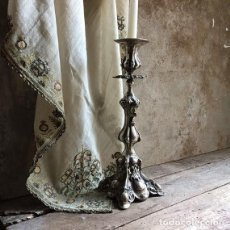 Antigüedades: ORNATE / SILVER CANDLESTICK. / ANTIQUE SILVERPLATE CANDLE / HOLDER. SCULPTURAL 19TH CENTURY. Lote 122264679