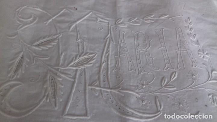 Antigüedades: MUY ANTIGUA SABANA CON GRANDES INICIALES BORDADAS A MANO CON EL NOMBRE DE MARIA. - Foto 6 - 122285155