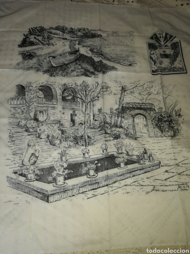 Antigüedades: Gran pañuelo cala fondo - Foto 4 - 122291715