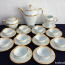 Antigüedades: JUEGO DE CAFÉ EN PORCELANA DE LIMOGES SELLO LIMOGES. Lote 122297483