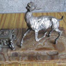 Antigüedades: ESCRIBANIA DE MÁRMOL – BRONCE // EL CIERVO NO PERTENECE AL MÁRMOL LOS AGUJEROS NO COINCIDEN ...... Lote 122307951